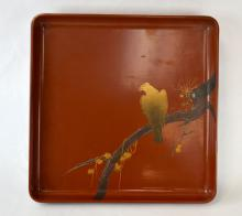 Japanese Red Lacquer Tray w. Eagle