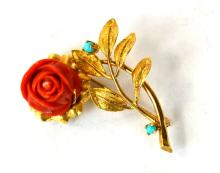 14K Yellow Gold, Coral, & Turquoise Flower Pin