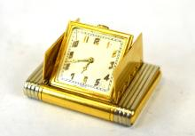 18K Yellow Gold Travel Pocket Watch Or Clock