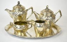 800 Silver Art Nouveau Tea & Coffee Set With Tray