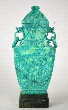 Chinese Carved Turquoise Covered Vase