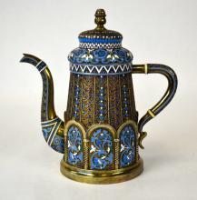 Russian Enameled Silver Teapot
