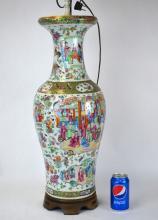 19th Cen. Large Chinese Rose Medallion Vase Lamp