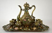 Chinese Export Enameled Silver Tea Set