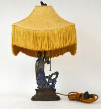 19th C. Chinese Carved Lapis Figural Lamp