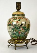 Chinese Porcelain Famille Verte Ginger Jar Lamp