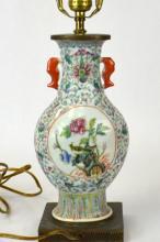 Chinese Porcelain Famille Rose Vase Lamp Base
