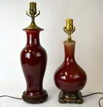 Two Chinese Red Glazed Porcelain Vases Lamps