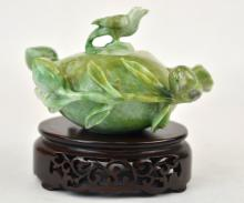 Chinese Carved Green Jade Vessel w. Cover