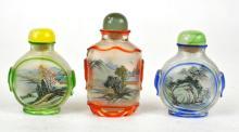Three Chinese Painted Peking Glass Snuff Bottle