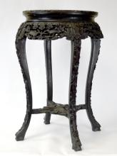 Chinese Carved Wood Stool with Marble Top
