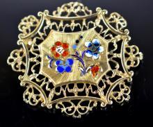 Antique Enameled 14k Yellow Gold Pin