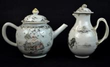 Two Chinese Export Porcelain Painted Teapots