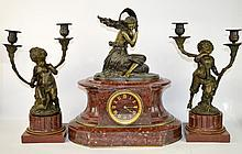 Claude Michel Clodion 3pc Clock & Candleabra Set