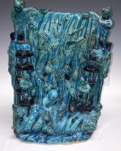 Chinese Blue Glazed Carved Porcelain Brush Pot