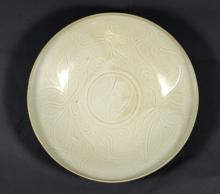 Chinese Song Dynasty Porcelain Ivory-Glazed Bowl with Fish