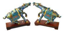 Pair of Chinese Blue Cloisonne Steer Figures