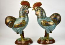 Pair of Large Chinese Cloisonne Roosters
