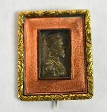 14K Gold Two Tone Gold Russian Portrait Pin