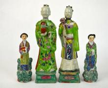 Two Pairs Chinese Porcelain Figures