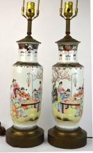 Pair Chinese Porcelain Famille Rose Vases / Lamps