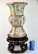 Chinese Gu Rose Medallion Porcelain Vase & Stand