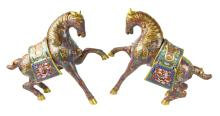 Pair of Chinese Red Cloisonne Horse Figures