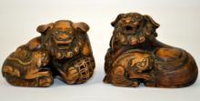 Pr Chinese Carved Wood Foo Dog Figures