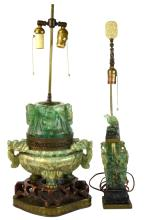 Two Chinese Carved Green Quartz Lamps