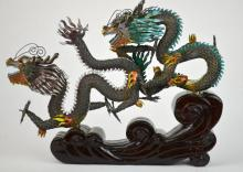 Chinese Enameled Silver Dragon Figure & Wood Stand