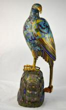 Large Chinese Cloisonne Standing Eagle Figure