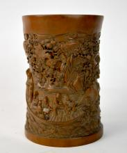 Finely Carved Chinese Boxwood(Huangyangmu) Brush Pot