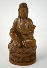 Chinese Carved Boxwood(Huangyangmu) Guanyin Figure