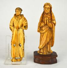 17th Century. Two Bone Carved of Figurines