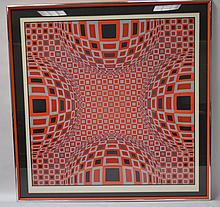 Victor Vasarely Signed Op Art Serigraph