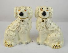 Pr Late Victorian Staffordshire Porcelain Dogs
