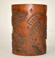 Chinese Carved Bamboo Brush Pot