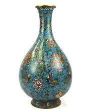 Tall Chinese Cloisonne Bottle-Shaped Vase