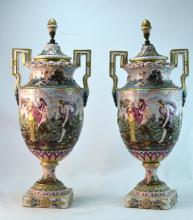 Pair of Italian Porcelain Capodimonte Tall Urns