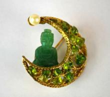 Swoboda Pearl & Jadeite Costume Jewelry Brooch