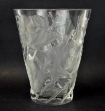 Lalique Ispahan Rose French Art Glass Vase