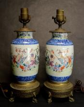 A Pair of Chinese Porcelain Lamps