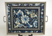 Framed Chinese Silk Needle Work
