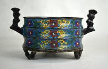 Chinese Enameled /Cloisonne  Bronze Cencer