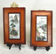 Two Chinese Porcelain Plaques w/Wood Frame