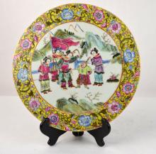 Chinese Rose Medallion Porcelain Plaque