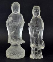 Pair of Chinese Carved Rock Crystal Figures