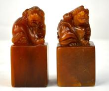 Two Chinese Soapstone Seal