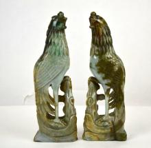 Two Tall Chinese Carved Green Jade Birds
