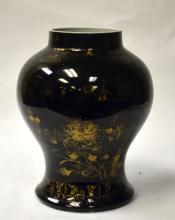 Chinese Gilded Black-Glazed Porcelain Vase 18th C